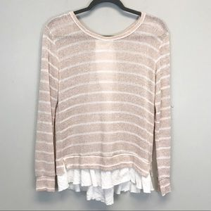 Anthropologie | Pink Striped Valentina Sweater